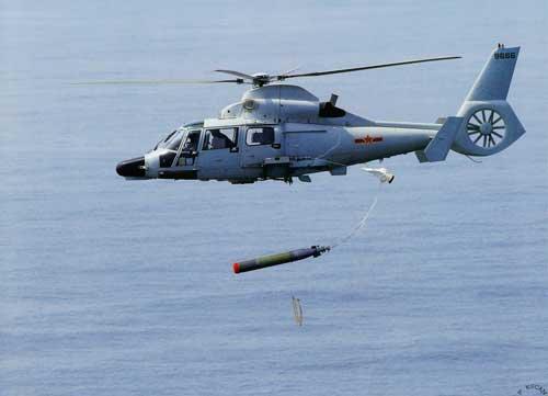 Harbin Z-9C melepaskan torpedo A-244S (Y-7K dalam varian Cina)