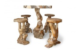 Root Bar Table n Stool Teak Root