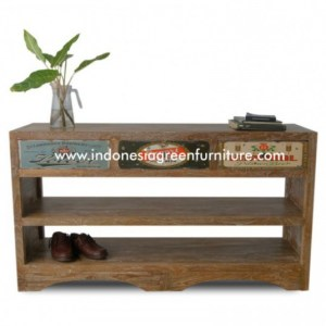 Shoe Rack 3 Drawer with 2 shelf Reclaimed Teak