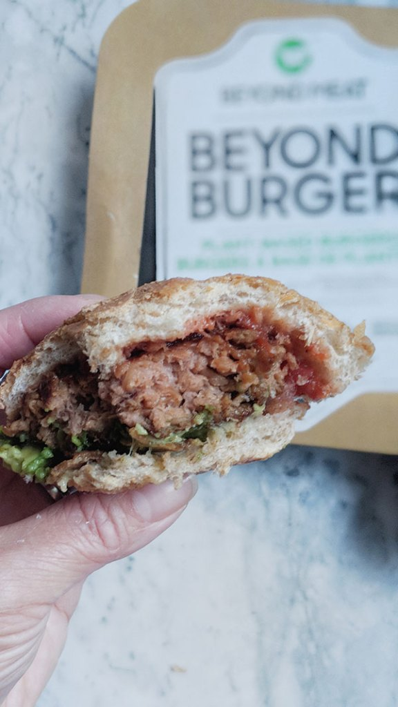 Cross section of a juicy plant-based burger patty.