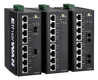 Switches PoE Gigabit para montaje en carril DIN