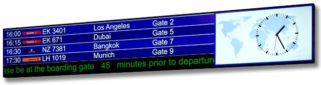 Monitores de gran formato para aeropuertos