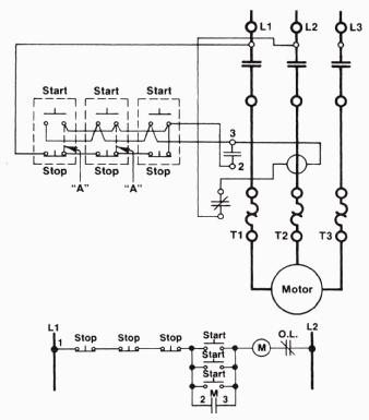 a threewire start/stop circuit with multiple start/stop