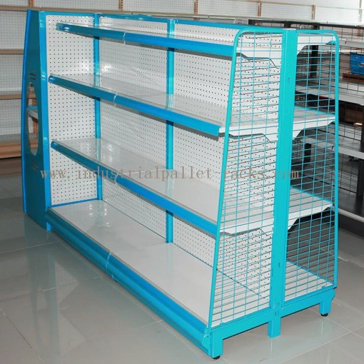 Gondola Shelving Blue Light Duty Display Rack With Wire Mesh or     China Gondola Shelving Blue Light Duty Display Rack With Wire Mesh or Steel  Board Side supplier