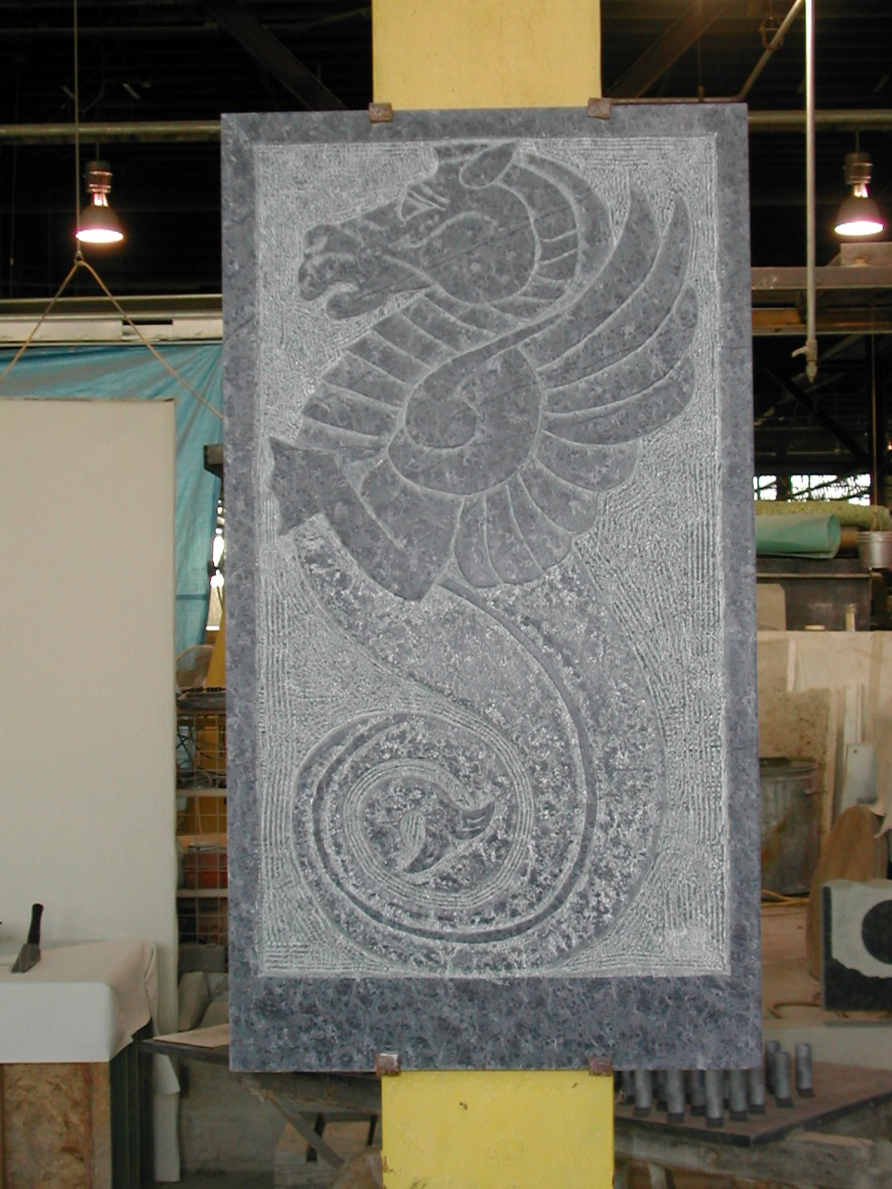 Seahorse - Soapstone Relief Carved Sign