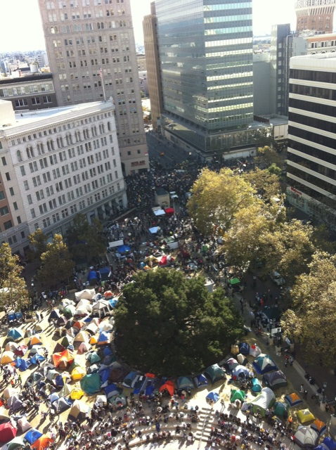 Oscar Grant plaza seen from above.