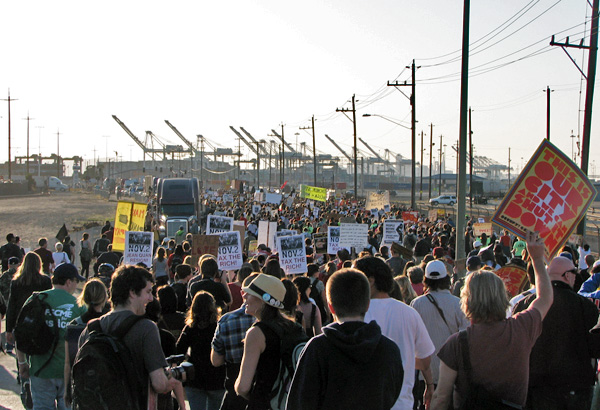 Marching to shut down the port.