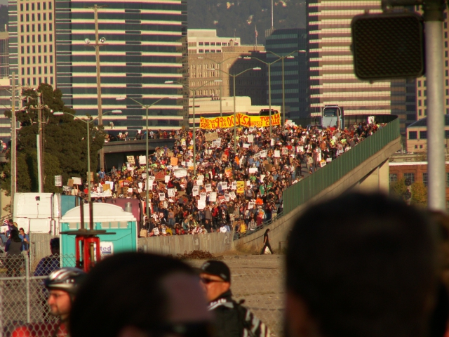 More of the huge crowd that shut down the port.