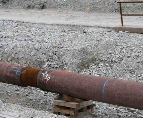 This is the pipe being laid between the refinery and the tunneling compound