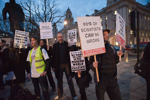 Some excellent counter-counter protesting from Plane Stupid activists, Parliament Square last night (Peter Marshall)