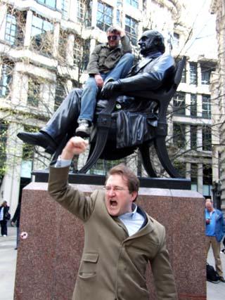 Shocking Exclusive: Man waves Fist at Protestors!!
