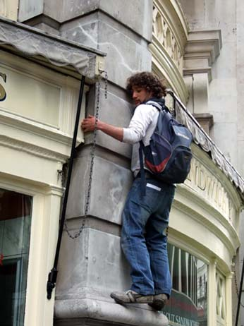 The protests drove some to climbing the walls!
