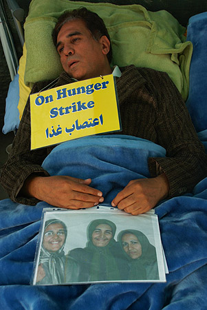 A male hunger striker and his family.