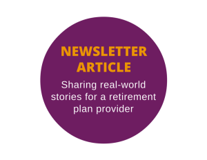 Newsletter article for a retirement plan provider