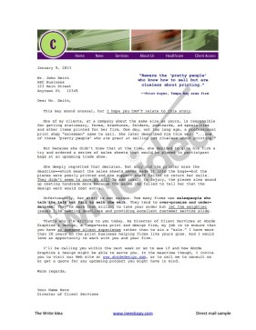 Direct mail letter to warm up prospects for sales
