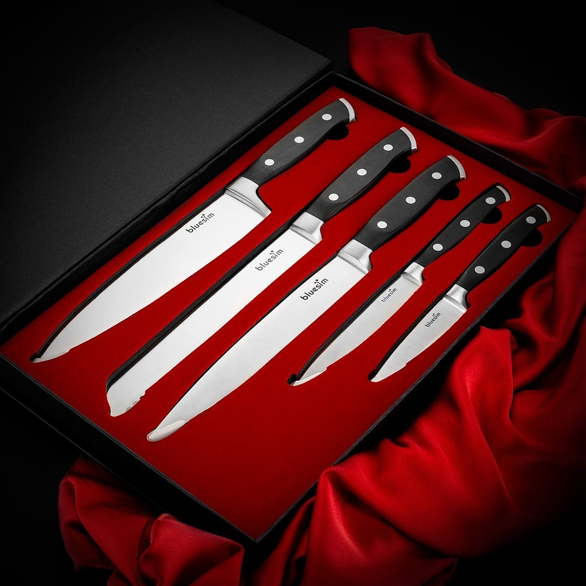 Bluesim Stainless Steel Kitchen Triple Rivet Knife Set