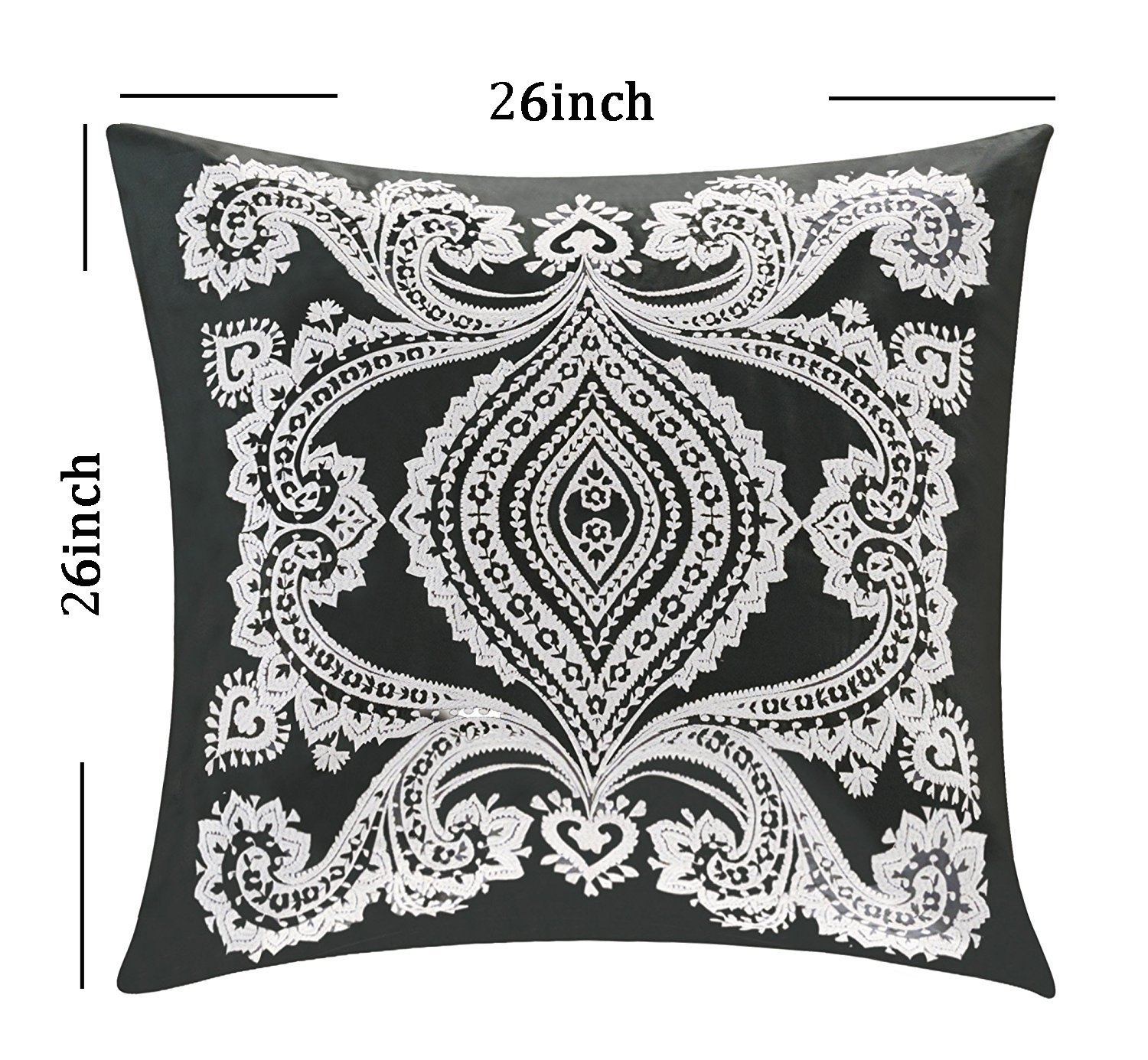 Organic Cotton Embroidered Cushion Cover Euro Pillow