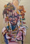 old mursi woman, Omo Valley, Ethiopia. mixed media paper SOLD