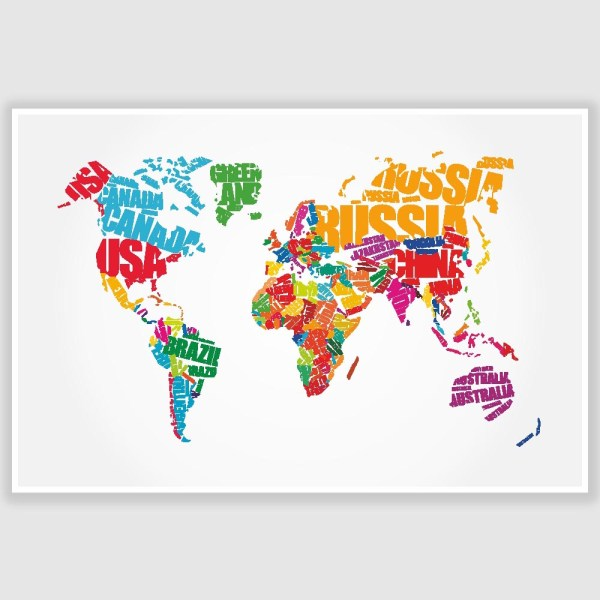 World Map Typography Poster (12 x 18 inch)