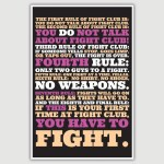 Fight Club - The First Rule Movie Quote Poster (12 x 18 inch)