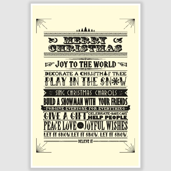 Merry Christmas Greetings Poster (12 x 18 inch)