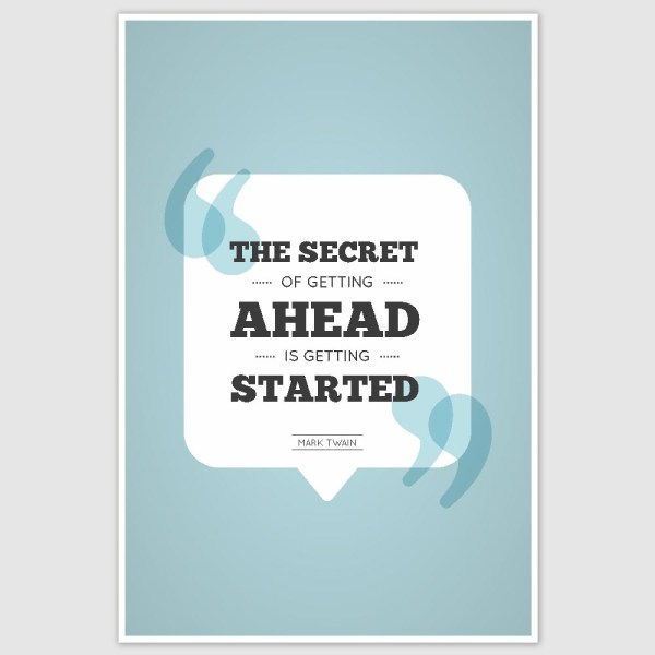 Mark Twain - Getting Started Inspirational Poster (12 x 18 inch)