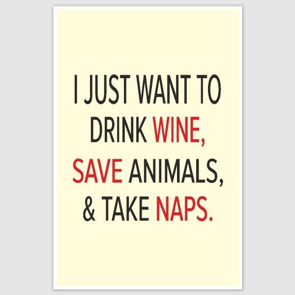 Drink Wine & Take Naps Inspirational Poster (12 x 18 inch)