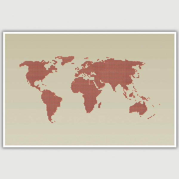 World Map Dotted Pattern Poster (12 x 18 inch)