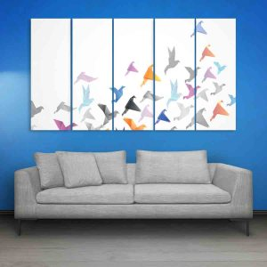 Multiple Frames Birds Abstract Wall Painting for Living Room, Bedroom, Office, Hotels, Drawing Room (150cm X 76cm)