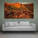 Multiple Frames Beautiful Hills Station Wall Painting (150cm X 76cm)
