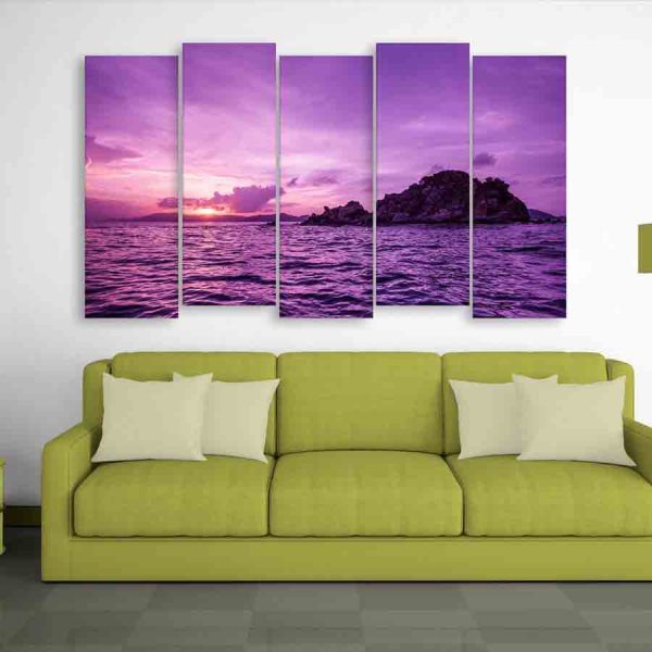 Multiple Frames Island Sunset Wall Painting (150cm X 76cm)