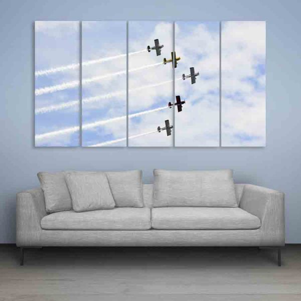 Multiple Frames Beautiful Planes Wall Painting (150cm X 76cm)