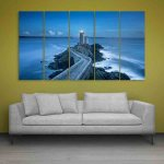 Multiple Frames Beautiful Lighthouse Wall Painting (150cm X 76cm)