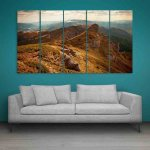 Multiple Frames Beautiful Mountains Nature Wall Painting (150cm X 76cm)