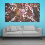 Multiple Frames Snow Cherry Leaves Wall Painting (150cm X 76cm)