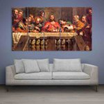Multiple Frames Jesus The Last Supper Wall Painting (150cm X 76cm)