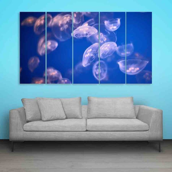 Multiple Frames Beautiful Jelly Fishes Wall Painting (150cm X 76cm)