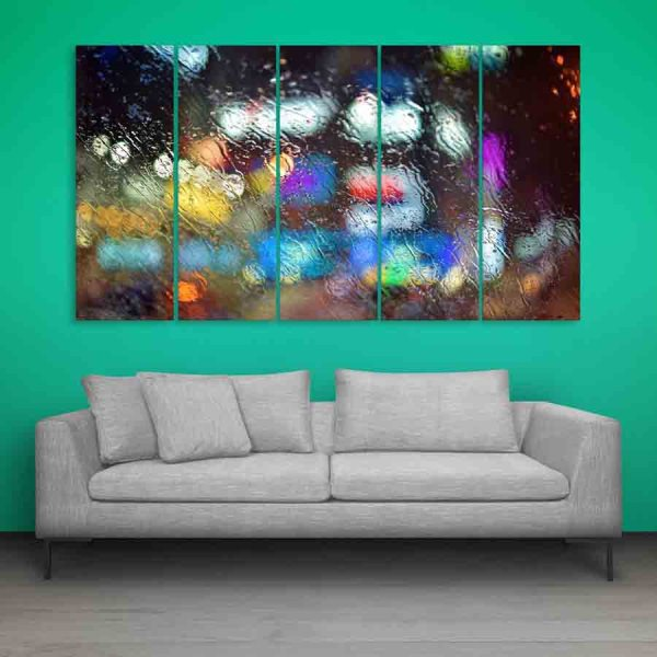 Multiple Frames Water On Glass Wall Painting (150cm X 76cm)