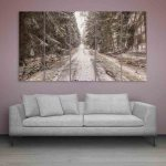 Multiple Frames Beautiful Snow Winter Wall Painting (150cm X 76cm)