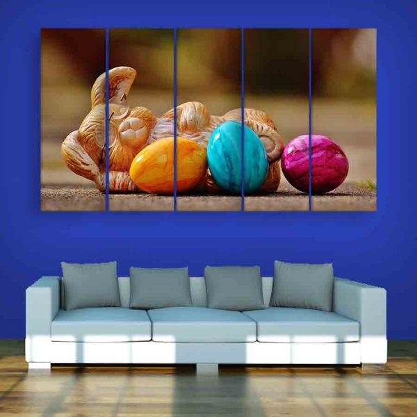Multiple Frames Colorful Pebbles Wall Painting (150cm X 76cm)
