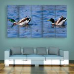 Multiple Frames Beautiful Ducks Wall Painting (150cm X 76cm)
