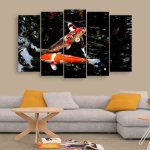 Multiple Frames Beautiful Fishes Wall Painting (150cm X 76cm)
