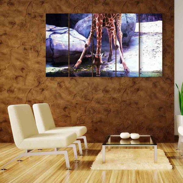 Multiple Frames Giraffe Wall Painting (150cm X 76cm)
