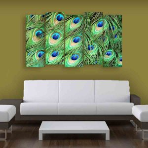 Multiple Frames Peacock Feathers Wall Painting (150cm X 76cm)