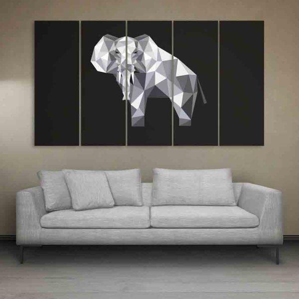 Multiple Frames Elephant Polygon Wall Painting (150cm X 76cm)