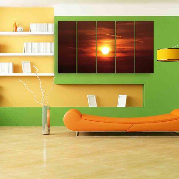 Multiple Frames Sunset Wall Painting (150cm X 76cm)