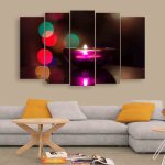 Multiple Frames Candle Light Wall Painting (150cm X 76cm)