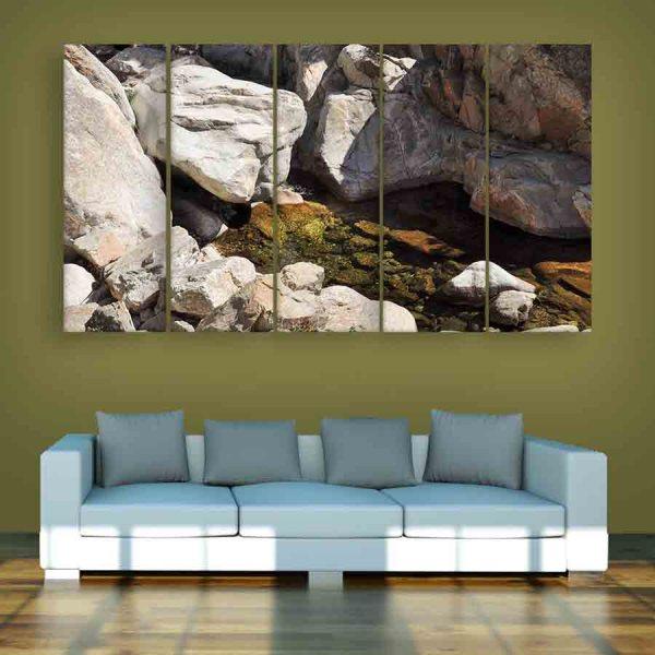 Multiple Frames Rocks Wall Painting (150cm X 76cm)