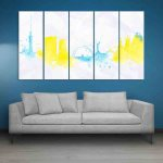 Multiple Frames Skyline Watercolor Wall Painting (150cm X 76cm)