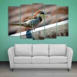 Multiple Frames Sparrow Wall Painting (150cm X 76cm)